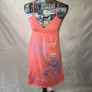 ED HARDY pink/coral mini knit dress SIZE: SMALL